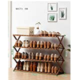 Four-layer Brown Bamboo Folding Simple Shoe Rack, Shoe Cabinet, Item Display Rack, Multifunctional Storage Rack, Pure Natural Bamboo Weave, Suitable For Corridor, Living Room, Bedroom, Hotel and Hotel