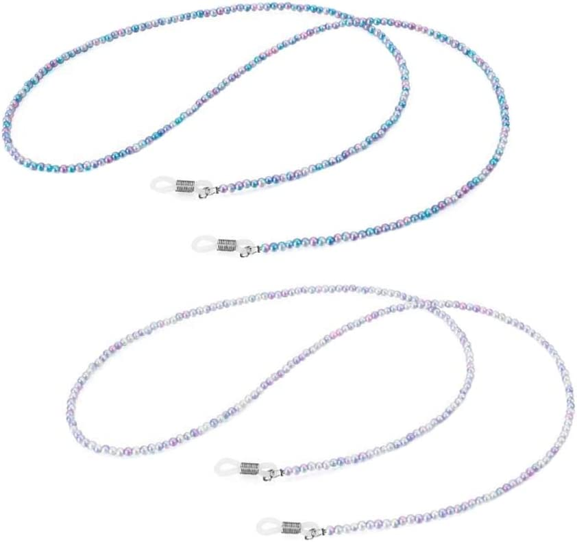 2 Pcs Pink Blue Acrylic Beads Eyeglass Chain Reading Glasses Chain Necklace String Sunglasses Neck Strap Holder