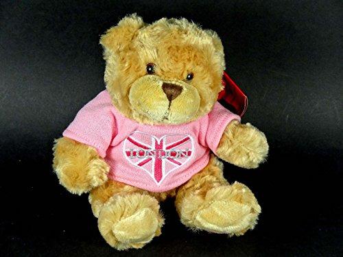 Teddy Bear Ours en peluche avec tee-shirt rose et cœur au motif du drapeau anglais Broderie London 15 cm assis