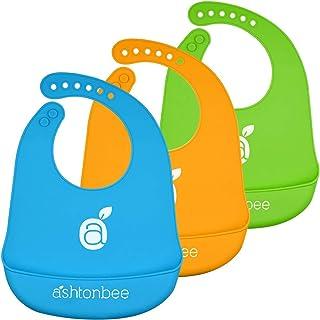 Silicone Baby Feeding Bibs with Food Catcher Pocket, Set of 3 - Unisex Waterproof Bib