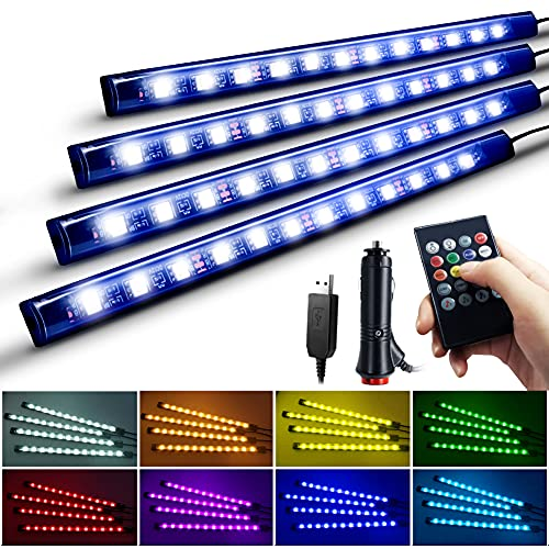 Nanpoku 車 LEDテープライト USB&シガーソケット 2種給電 車内装飾用 防水 高輝度 音に反応 RGB 8色切替 多...