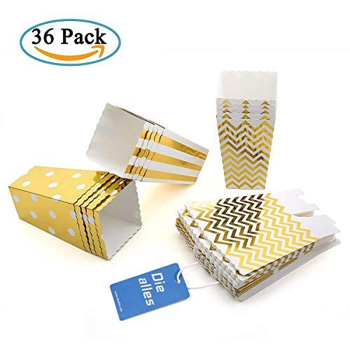 Diealles Popcorn Boxes, 36 Stück Popcorn Tüte Popcorn Candy Boxen Behälter für Party Snacks, Süßigkeiten, Popcorn und Geschenke - Gold