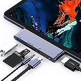 Hub USB C pour iPad Pro 2018, Adaptateur HDMI 6 en 1 USB C à 4K avec USB3.0, lecteur de carte SD /...