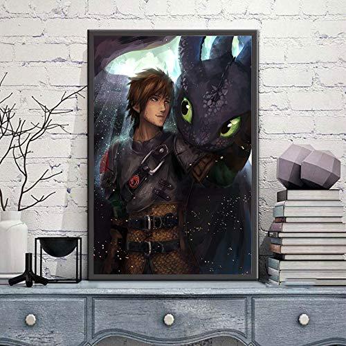 KWzEQ Leinwand malen, wie Sie Ihr Drachenplakat HD Wandkunst Kinderzimmer Bilddekoration trainieren,Rahmenlose Malerei,60X90cm