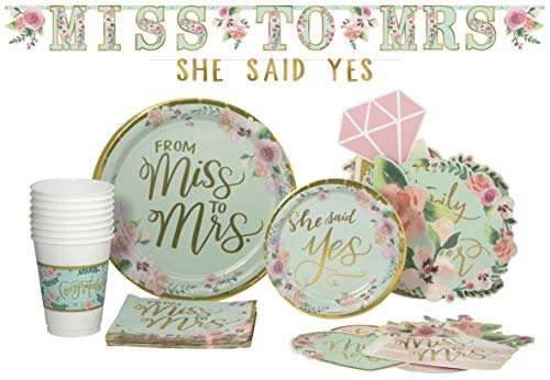 Bridal: From Miss to Mrs Pack! Disposable Paper Plates, Banner Kit, Photo Prop Cutouts, Napkins and Cups Set for 15 (With free extras)