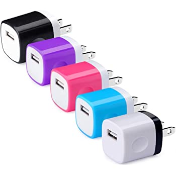 iPad Android Phone Moto,Tablet USB Charger Samsung Charging Block CIQILY 5-Pack 1A//5V USB Power Home Travel Adapter Wall Charger Cube Brick Box Base Head Compatible for Phone X 8 7 6 Plus 5S LG