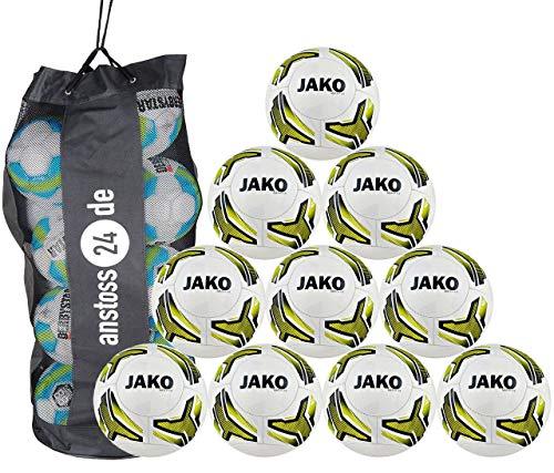 JAKO 10 x Jugendball Match 2.0 inkl. Ballsack, Größe:3, Farbe:weiß/neongelb/schwarz-290g