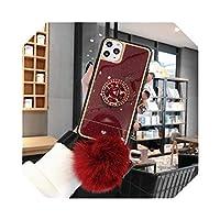 きらめき素敵なブリンブリンリングホルダーヘアボールソフト電話ケースFor iphone11 Pro Max X XS XR 6 78プラスカバー用For samsungS9S10用注-D-for iphone 11 Pro