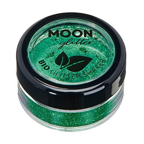 Paillettes biodégradables Eco Glitter Shakers de Moon Glitter - 100% Cosmetic Bio Glitter pour le visage, le corps, les ongles, les cheveux et les lèvres - 5g - Vert