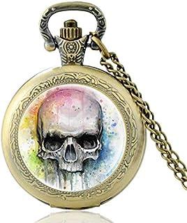 New Fashion Classic Cool Skull Glass Dome Quartz Pocket Watch Vintage Men Women Punk Style Necklace Pendant Yang (Color : ...