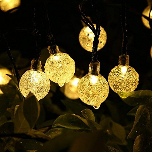 MagicLux Tech Solar String Lights Garden, Outdoor Waterproof Crystal Ball 30 LED solar Fairy lights, Fence, Christmas, Tree, Party Decoration Lighting - Warm White, 21FT, 8-in-1 Mode