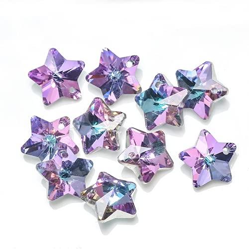Ggwdhudta Dream Powder Purple Stars Moon Snow Flower Personalidad Colgante Creativo DIY Oído Delicioso Pulsera Accesorios de la joyería