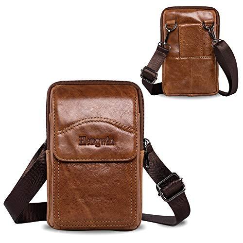 Hengwin Bandolera Hombre Piel Autentica Bolso Cintura Tactic Funda Cinturon Movil Funda Movil Colgar Porta Tarjetas Para iPhone 12 11 Pro Max XS XR 8 7 6S Plus S20+