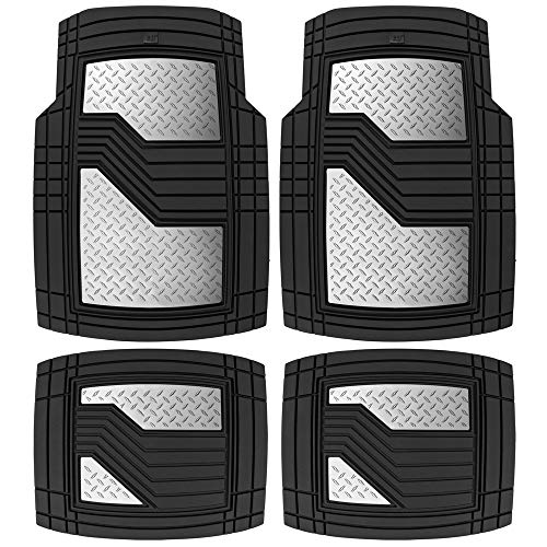 Caterpillar Heavy Duty Rubber Floor Mats for Car SUV Truck & Van-All Weather Protection, Front & Rear with Heelpad & Anti-Slip Nibs Backing, Trim-to-Fit