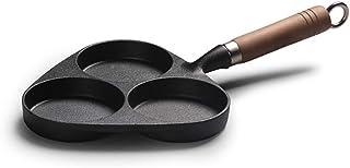 Ebestus - Sartén de 3 moldes para tortillas de hierro fundido, sartenes antiadherentes para desayuno