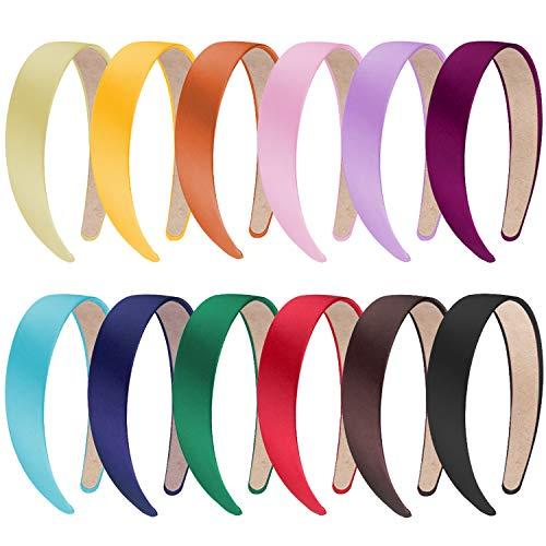 SIQUK 12 Stück Haarreifen Satin Breit Haarreif Stirnbänder für Damen und Mädchen, 12 Farben