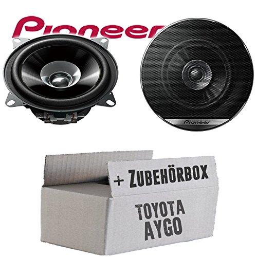 Lautsprecher Boxen Pioneer TS-G1010F - 10cm Doppelkonus 100mm PKW KFZ Auto 190W Paar Einbausatz - Einbauset für Toyota Aygo - JUST SOUND best choice for caraudio