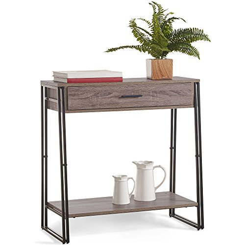 VonHaus Console Table with 1 Drawer and Shelf – Side Table, Hallway Table, Entrance Table –Industrial & Rustic Style - For Living Room