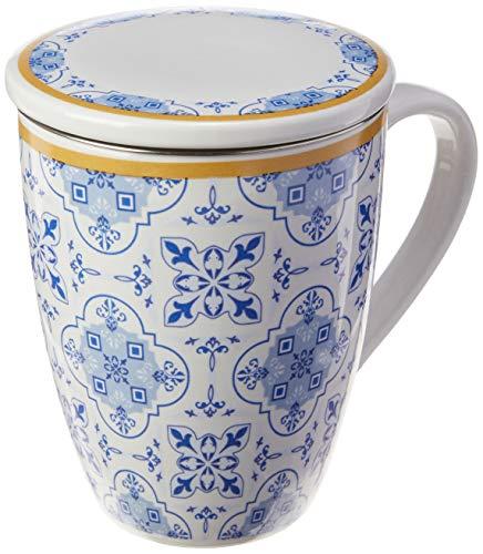 Caneca De Porcelana Super White C/tampa E Filtro Lisboa Azul/branca 310ml C/caixa De Presente Lyor Azul E Branco No Voltagev