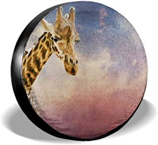 ENEVOTX Drawing Portrait of A Giraffe Portrait On Old Vin Car Tire Cover Car Tire Wheel Cover Tire Cover Waterproof Uv Sun 14 - 17 Fit for Jeep Trailer Rv SUV and Many Vehicle