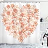 ABAKUHAUS Pfirsich Duschvorhang, Herzförmige Blüten, mit 12 Ringe Set Wasserdicht Stielvoll Modern Farbfest & Schimmel Resistent, 175x200 cm, Lachs Pfirsich