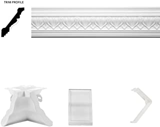 Focal Point 4 ⅛-Inch Acropolis Crown Molding 13 Foot x 13 Foot Complete Room Kit with 8 Crown Molding Pieces, Quick Clips, Connectors, Molding Mate Systems, and Mounting Screws