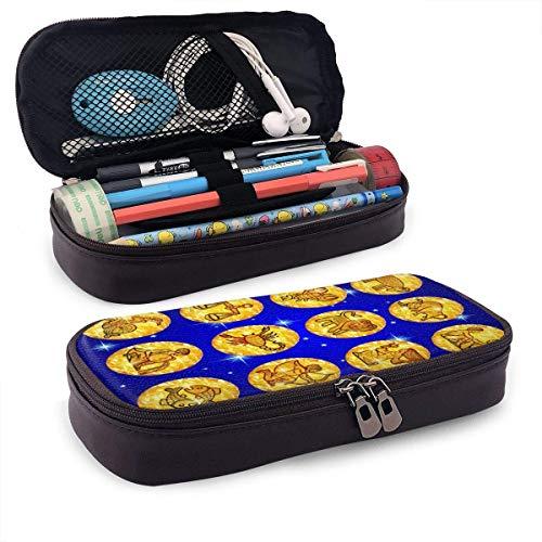 Establecer círculos de papel de aluminio dorado con símbolos del zodiaco en cuero azul Estuche para lápices lindo-Estuche para lápices Organizador de papelería