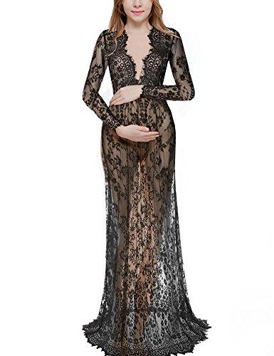 Saslax Women's Deep V-Neck Long Sleeve Lace See-through Wedding Maxi Dress,Black,4X