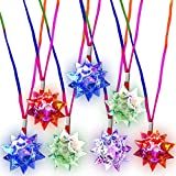 ArtCreativity Flashing Crystal Star Necklaces for Kids, Set of 12, Cute Toy Jewelry for Girls with Light-Up Pendant, Princess Party Favors for Children, Pretty Goodie Bag Fillers in Assorted Colors