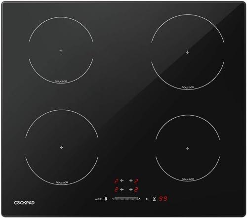COOKPAD Plaque à Induction 4 Foyers, Table de Cuisson Induction de 60 cm, Table de Cuisson Électrique de Verre Noir, ...