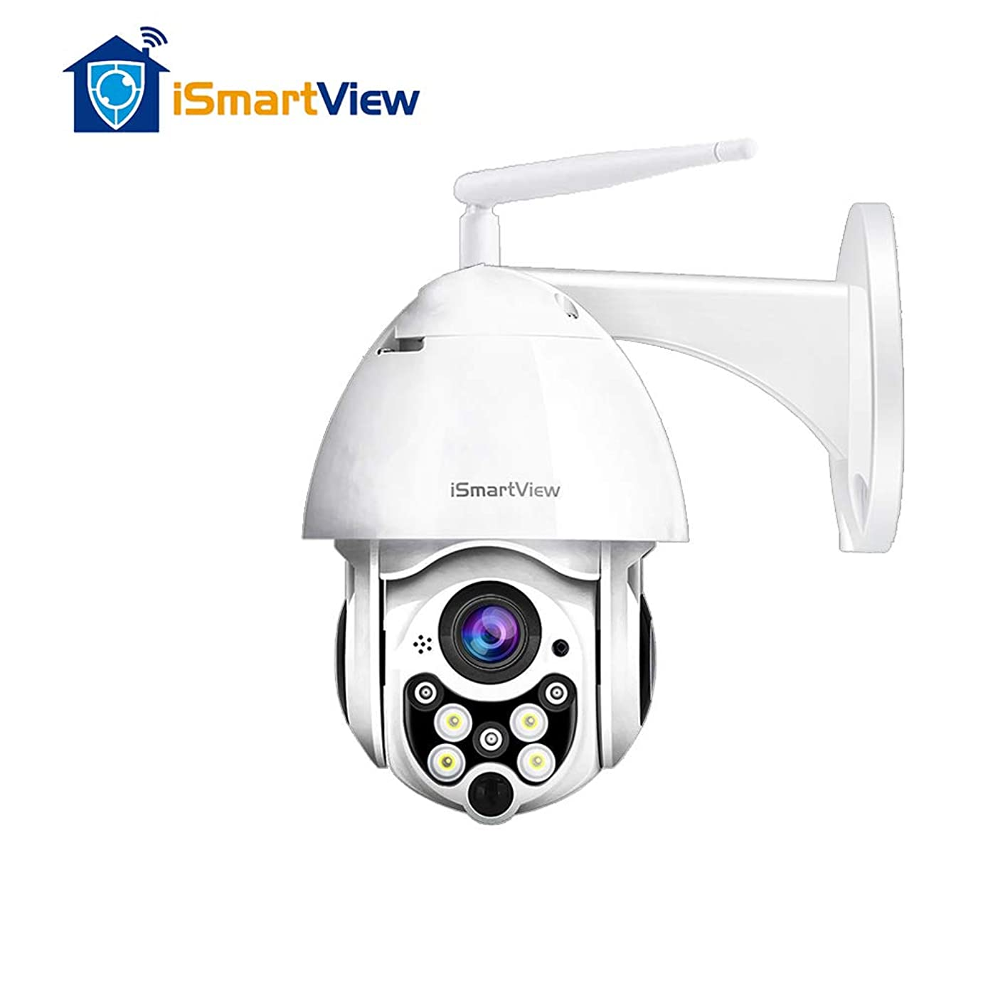 iSmartView IP WiFi Outdoor Camera, 1080P 2.0MP PTZ Weatherproof Security Camera, Clarity Colored Night Vision, Surveillance Wireless CCTV, Motion Alarm, 128G SD Card Loop Recording