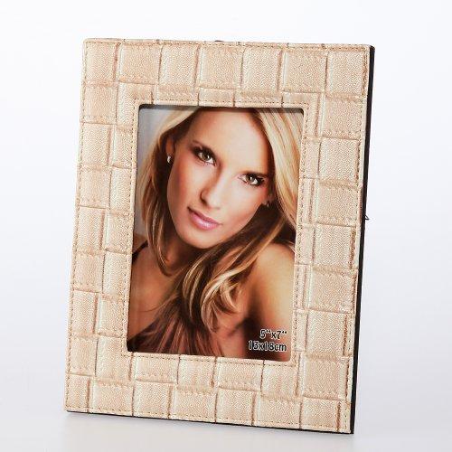 Tressage fotobilderrahmen pour image estimée 13 x 18 cm simili cuir beige