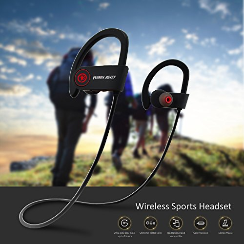 Fusion Beats Bluetooth Headphones / Best, Noise Cancelling Wireless Sports Earphones / Sweatproof Earbuds for Gym Running / Up to 8 Hours of Working Time / Built-in Mic Headsets 2