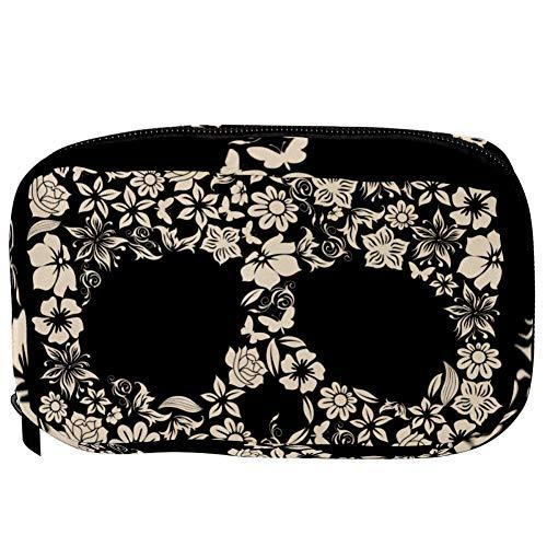 TIZORAX Cosmetic Bags Flower Skull Shape Handy Toiletry Travel Bag Organizer Makeup Pouch for Women Girls