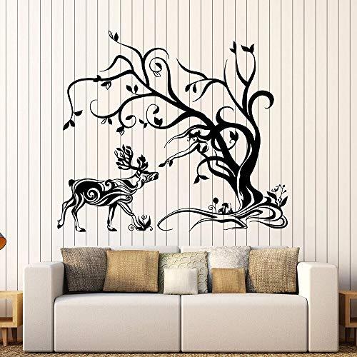 BailongXiao Wohnzimmer abstrakt Hirsch wandaufkleber Wald Tier Baum Vinyl wandtattoo Studie Nordic Dekoration Kunst 54x63 cm