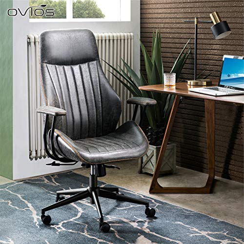 ovios Computer Office Chair,Modern Ergonomic Desk Chair,high Back Suede Fabric Desk Chair with Lumbar Support for Executive or Home Office (Black-Grey)
