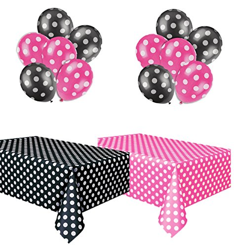 Polka Dot Party Set, Includes 1 Hot Pink Tablecloth, 1 Black Tablecloth, 6 Hot Pink Balloons and 6 Black Balloons.