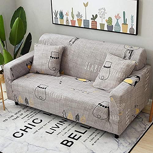 WLVG Sofabezug Stretch Elastic Fabric 1 2 3 4 Seaters, Tree Bear Schonbezug für Couch Armchair Anti-Slip Dogs Cat Pet Möbelschutz mit verstellbaren elastischen Trägern Easy Fit 90-140 cm