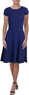 RALPH LAUREN Womens Blue Pleated Cap Sleeve Jewel Neck Midi Fit + Flare Dress Petites US Size: L