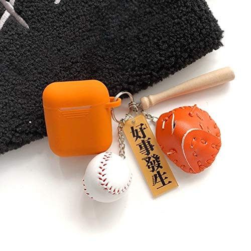 GBH DE for Airpods drahtlose Kopfhörer Silikon-Schutzhülle mit Schlüsselring & Baseball-Anhängern