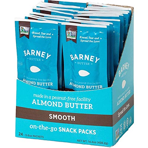 BARNEY Almond Butter Snack Pack, Smooth, Paleo Friendly, KETO, Non-GMO, Skin-Free, 0.6 Ounce, 24 Count