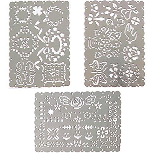 チャミ テンプレート 描画ルーラー ペーパーアート 定規 ステンレス製 手帳ページ アルバムペン 塗り絵 コミック カリグラフィーさまざまな用途のデコレーションに 3枚セット