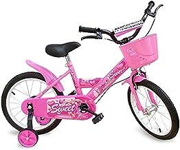Mediawave Store - Bicicleta para niña color rosa con cesta y ruedas de soporte desmontables, bicicleta para niños, sillín ajustable, ruedas hinchables, frenos delanteros y traseros Magic