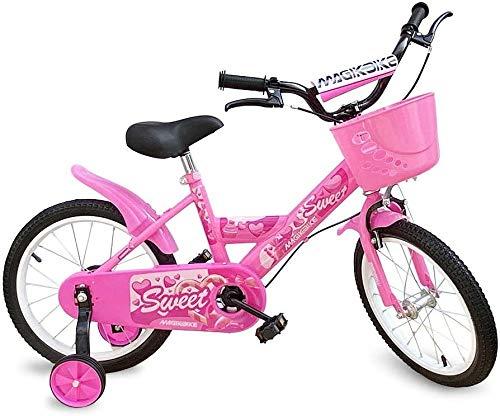 Mediawave Store - Bicicletta per Bambina Colore Rosa con Cestino e Rotelle di Supporto Smontabili, Bici per Bambini, Sella Regolabile, Freni Anteriori e Posteriori, MAGIC B062 (Taglia 16)