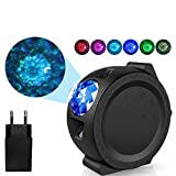 Starry Sky Projector Star Night Light Projection 6 Colors Ocean Waving Lights 360 Degree Rotation Night Lighting Lamp for Kids (220V app Control)