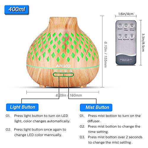 Essential-Oils-Diffuser-AiNiViO-400ml-Aromatherapy-Diffusers-Ultrasonic-Aroma-Humidifier-with-Cool-Mist-Waterless-Auto-Shut-Off-Remote-Control4-Timer-Settings-7-Color-LED-Lights