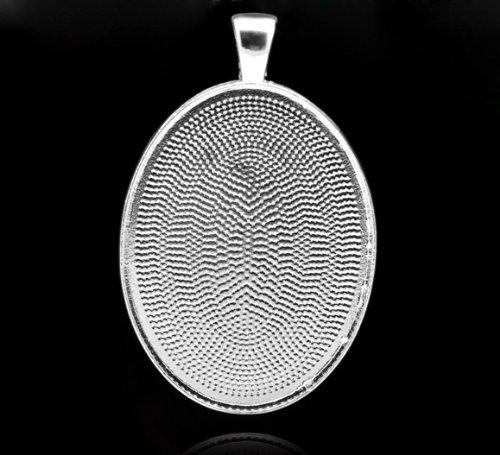 SiAura Material ® - 1x Anhänger Medaillon Oval, Cabochon Fassung D. 30 x 40 mm, Silberfarben