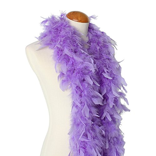 45g 52' Turkey Chandelle Feather Boas, Over 40 Colors & Patterns to Pick Up (Lavender)