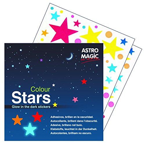 Melquiades Pegatinas de pared Brilla en la oscuridad Estrellas de colores - 14 x 14cm