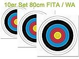 JVD 10er Set 80er FITA WA Papierauflage Scheibenauflage Zielscheibe 80x80cm